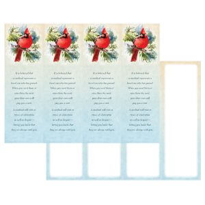 2-3/4″ x 8-1/2″ Cardinal in the Pines Micro-Perf Bookmark (4-up), The Visitor