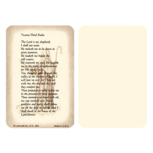 "2-5/8"" x 4"" Ivory 23rd Psalm Pocket, 23rd Psalm"