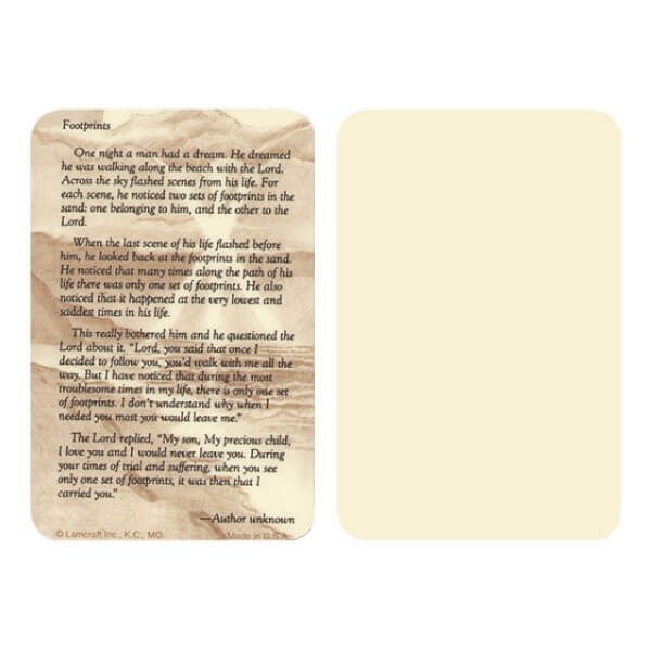 "2-5/8"" x 4"" Ivory Footprints Pocket, Footprints verse"