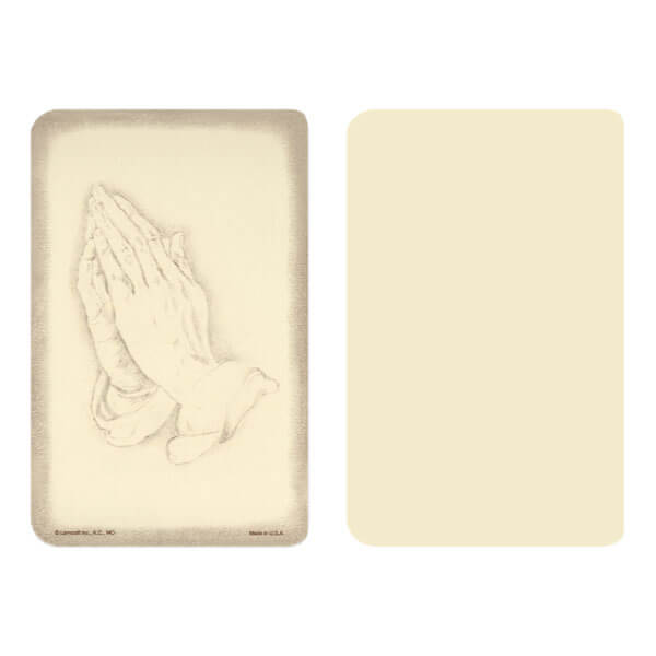 "2-5/8"" x 4"" Ivory Praying Hands Pocket, No Verse"
