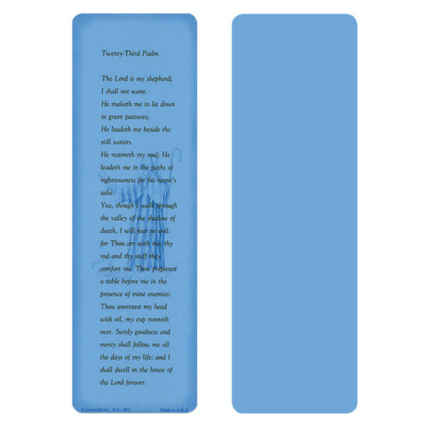 "2-5/8"" x 8"" Blue 23rd Psalm bookmark, 23rd Psalm"