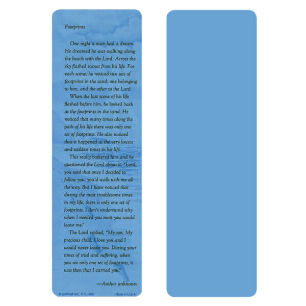 "2-5/8"" x 8"" Blue Footprints bookmark, Footprints verse"