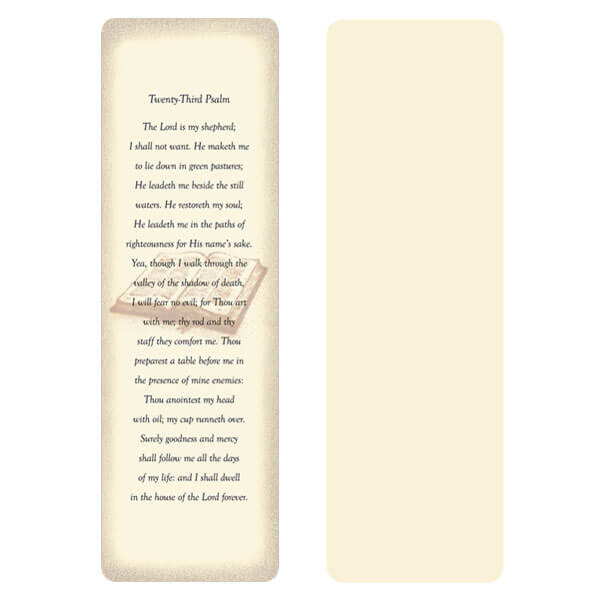 "2-5/8"" x 8"" Ivory Open Bible Memorial Bookmark, 23rd Psalm"