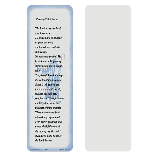"2-5/8"" x 8"" Grey 23rd Psalm bookmark, 23rd Psalm"