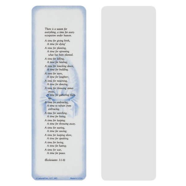 """2-5/8"""" x 8"""" Grey Ecclesiastes bookmark, Ecclesiastes 3:1-8"""