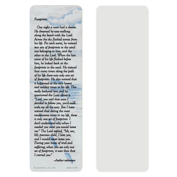 "2-5/8"" x 8"" Grey Footprints bookmark, Footprints verse"