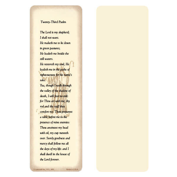 "2-5/8"" x 8"" Ivory 23rd Psalm bookmark, 23rd Psalm"