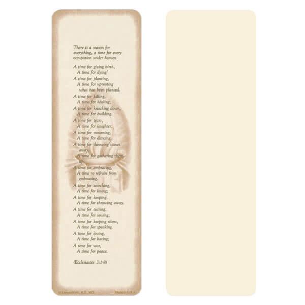 """2-5/8"""" x 8"""" Ivory Ecclesiastes bookmark, Ecclesiastes 3:1-8"""