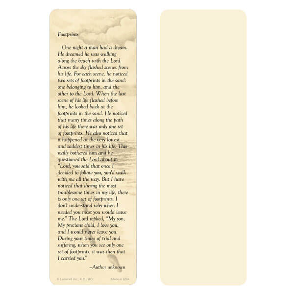 "2-5/8"" x 8"" Ivory Footprints bookmark, Footprints verse"