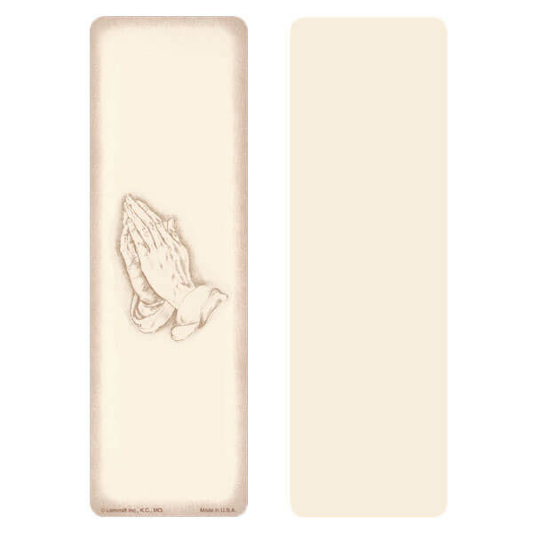 "2-5/8"" x 8"" Ivory Praying Hands bookmark, No Verse"