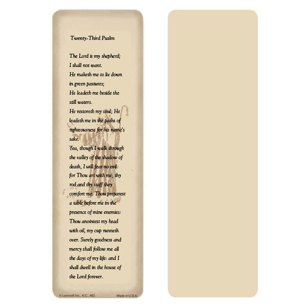 "2-5/8"" x 8"" Tan 23rd Psalm bookmark, 23rd Psalm"