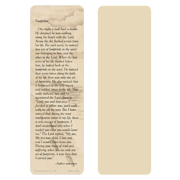 "2-5/8"" x 8"" Tan Footprints bookmark, Footprints verse"