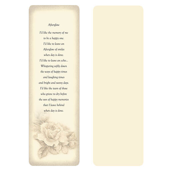 "2-5/8"" x 8"" Ivory Rose Bouquet Memorial Bookmark, Afterglow"