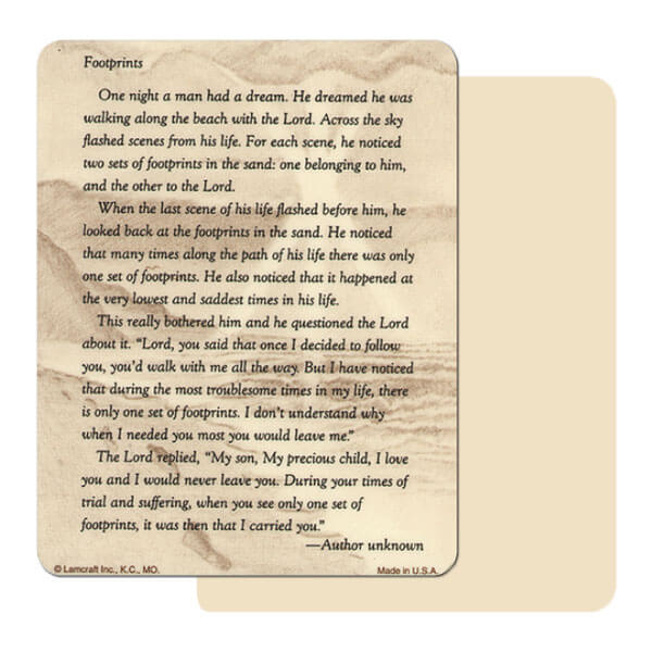 "4"" x 5"" Ivory Footprints Mini-Album, Footprints verse"