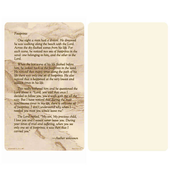 "5"" x 8"" Ivory Footprints Album, Footprints verse"