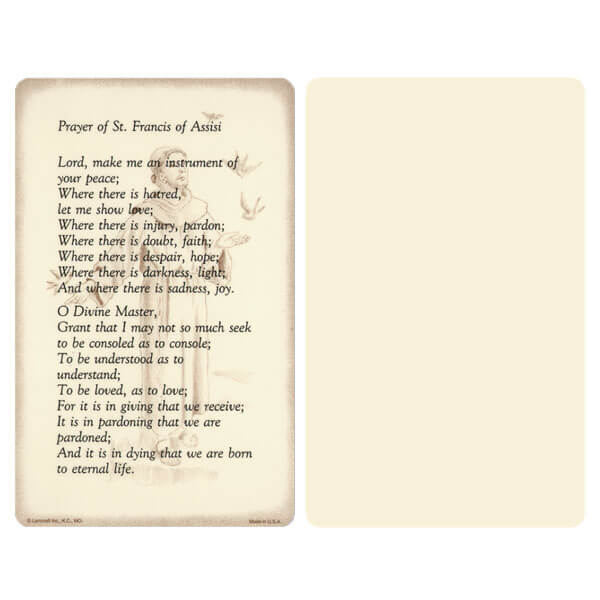 "5"" x 8"" Ivory Prayer of St. Francis Album, Prayer of St. Francis verse"