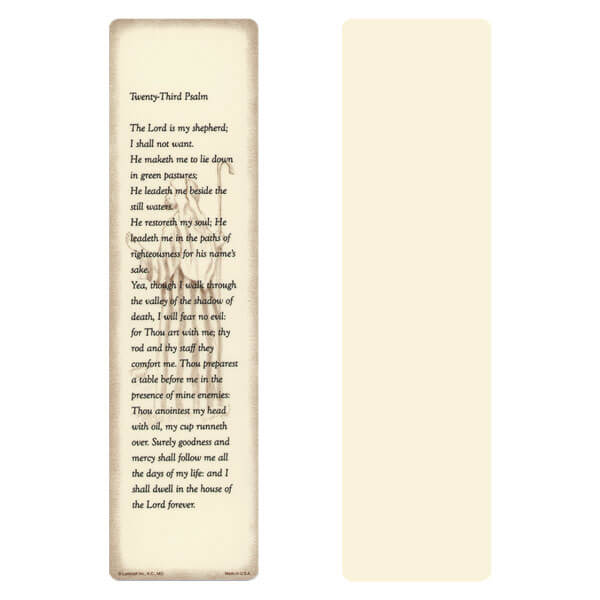 "3"" x 11"" Ivory 23rd Psalm Large Bookmark, 23rd Psalm"
