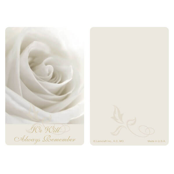 "3"" x 4-1/2"" White Rose PMC Pocket, We Will Always Remember"