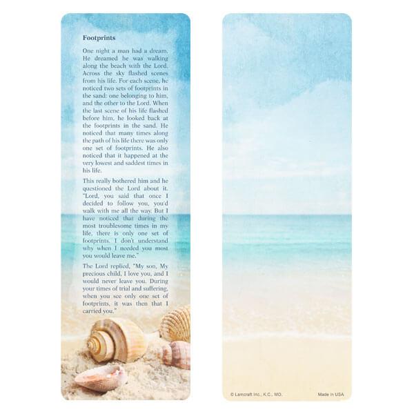 "3"" x 9"" Seashells bookmark, Footprints verse"