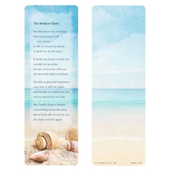 "3"" x 9"" Seashells bookmark, Broken Chain verse"
