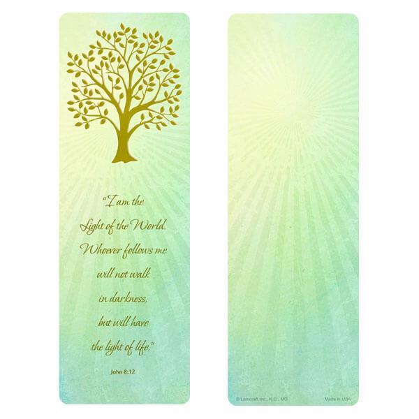"3"" x 9"" Radiant Tree of LIfe bookmark, John 8:12"