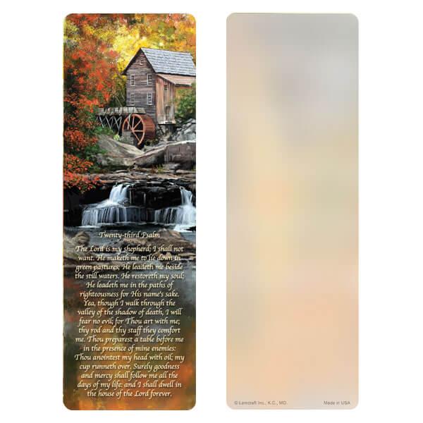 """3"""" x 9"""" Autumn Mill bookmark, 23rd Psalm"""