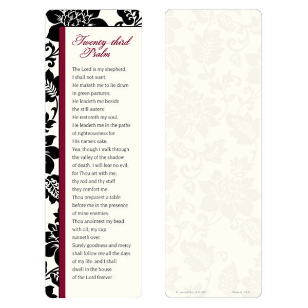 """3"""" x 9"""" Silhouette Expressions bookmark, 23rd Psalm"""