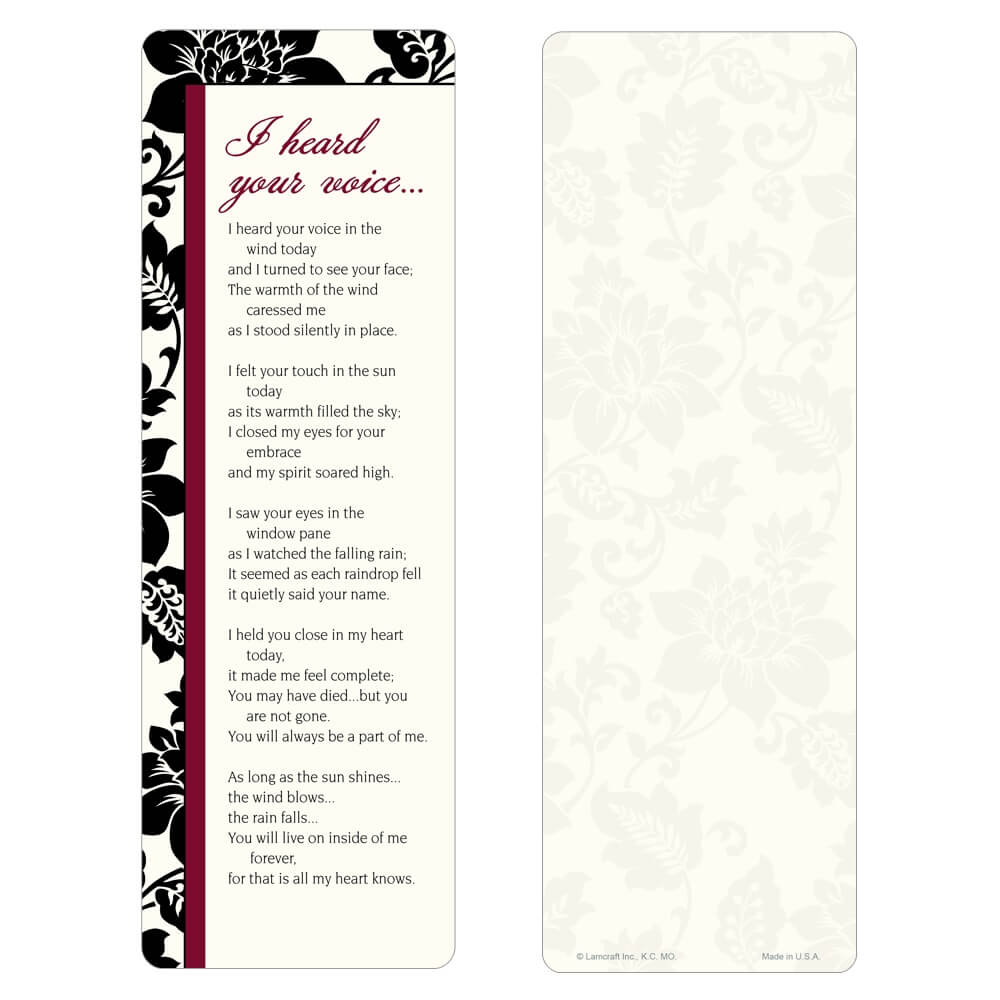 """3"""" x 9"""" Silhouette Expressions bookmark, I Heard Your Voice"""
