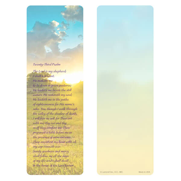 "3"" x 9"" Summer Field bookmark, 23rd Psalm"