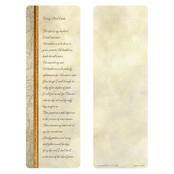 "3"" x 9"" Antique Border bookmark, 23rd Psalm"