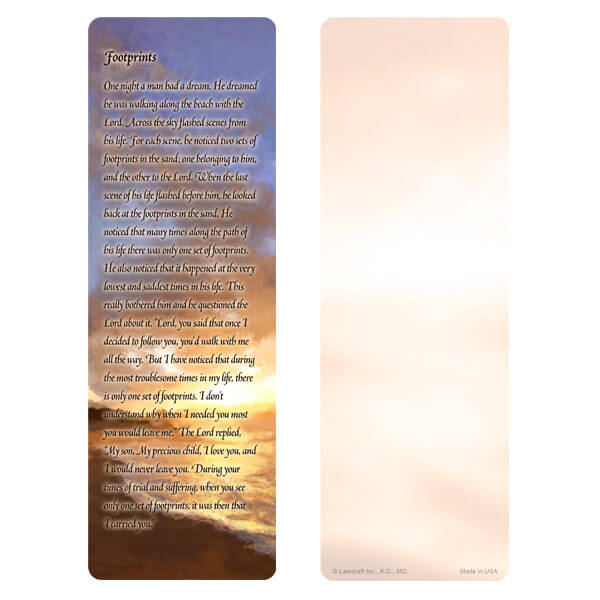 "3"" x 9"" Sunset Beach bookmark, Footprints verse"
