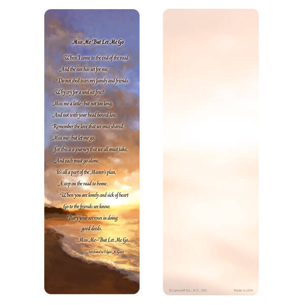 "3"" x 9"" Sunset Beach bookmark, Miss Me But Let Me Go"