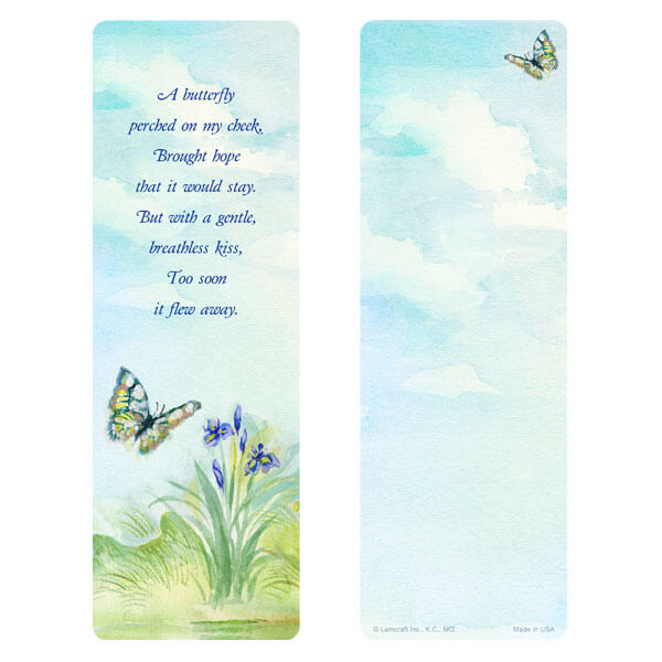 "3"" x 9"" Watercolor Butterfly bookmark, Butterfly Poem"