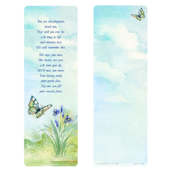 "3"" x 9"" Watercolor Butterfly bookmark, You Are Not Forgotten"