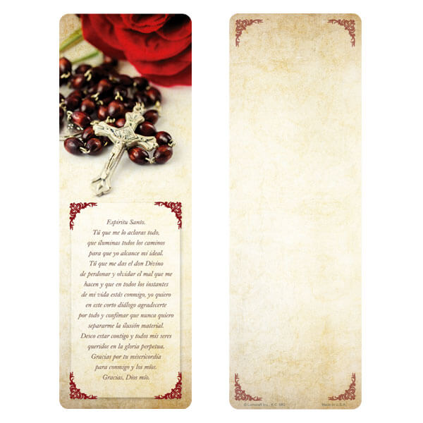 "3"" x 9"" Rosary and Rose bookmark, Espiritu Santos"