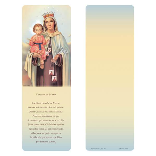 """3"""" x 9"""" Virgen del Carmen bookmark, Coraz_n de Maria"""