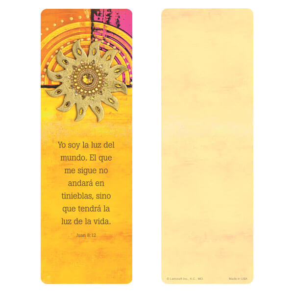 "3"" x 9"" Golden Sun bookmark, Juan 8:12"