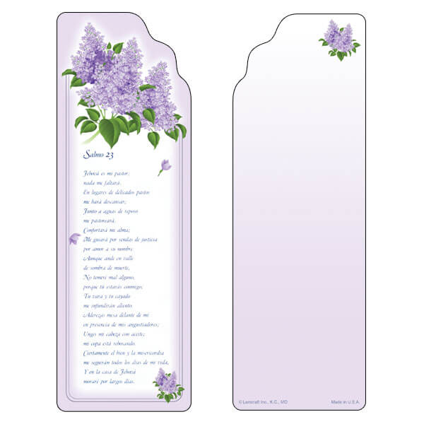 "3"" x 9"" Spring Lilacs bookmark, Salmo 23"