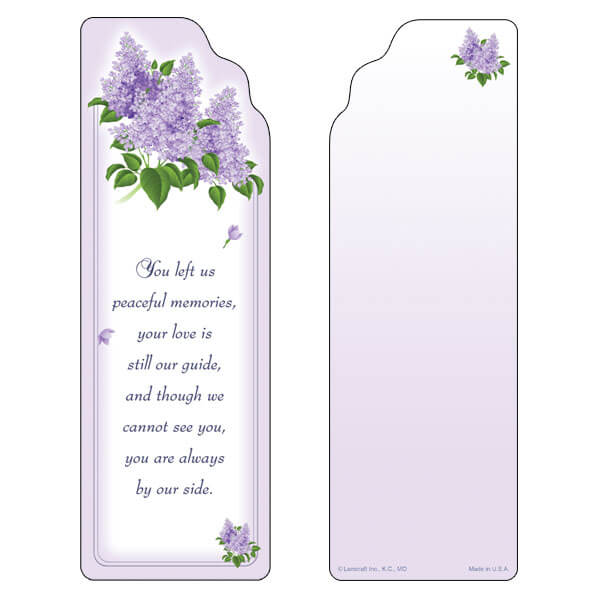 "3"" x 9"" Spring Lilacs bookmark, Peaceful Memories"