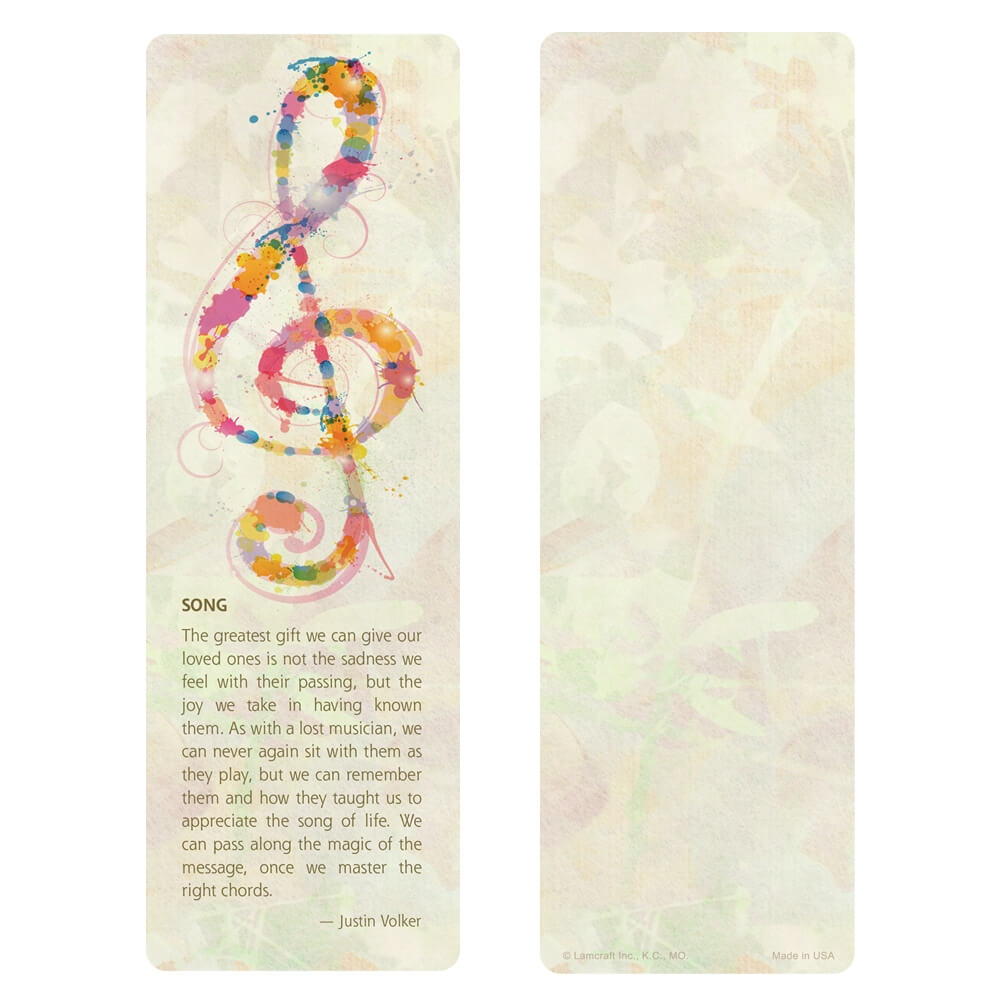 """3"""" x 9"""" Music bookmark, Song"""