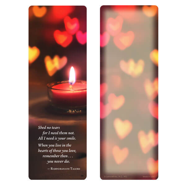 "3"" x 9"" Heart Candle bookmark, Shed No Tears"