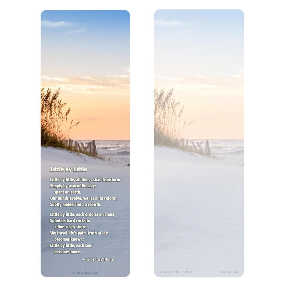 "3"" x 9"" Sandy Beach Premium Memorial Bookmark, Little by Little"