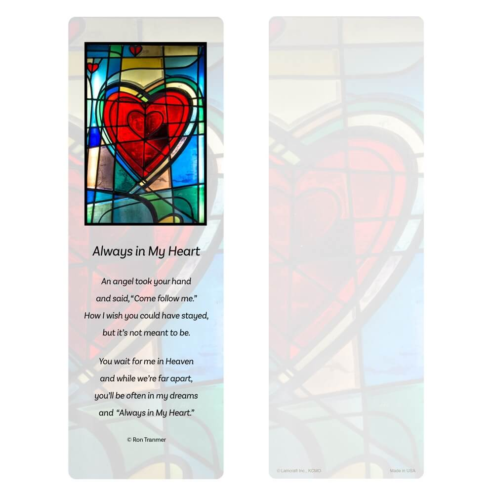 "3"" x 9"" Stained Glass Heart PMC, Always in My Heart verse"