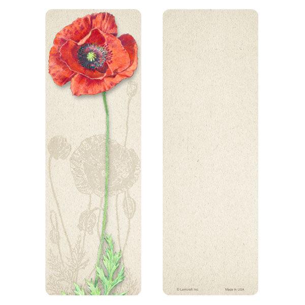 "3"" x 9"" Red Poppy bookmark, No Verse"