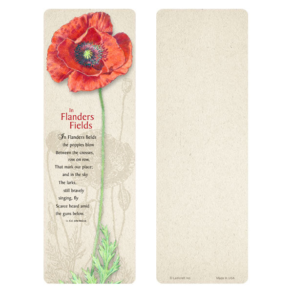 "3"" x 9"" Red Poppy bookmark, Flander's Field"