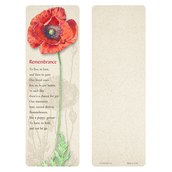 "3"" x 9"" Red Poppy bookmark, Remembrance"