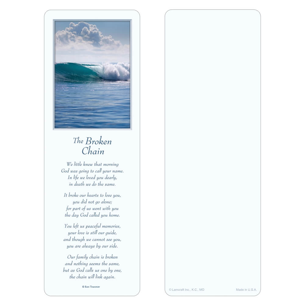 "3"" x 9"" Tranquil Ocean bookmark, Broken Chain"