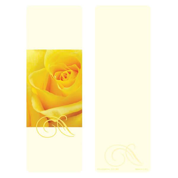 "3"" x 9"" Yellow Rose bookmark, No Verse"