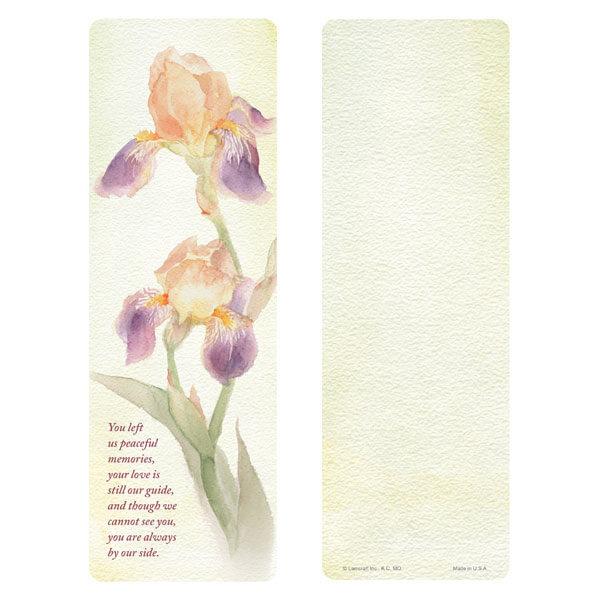 "3"" x 9"" Dutch Iris bookmark, Peaceful Memories"