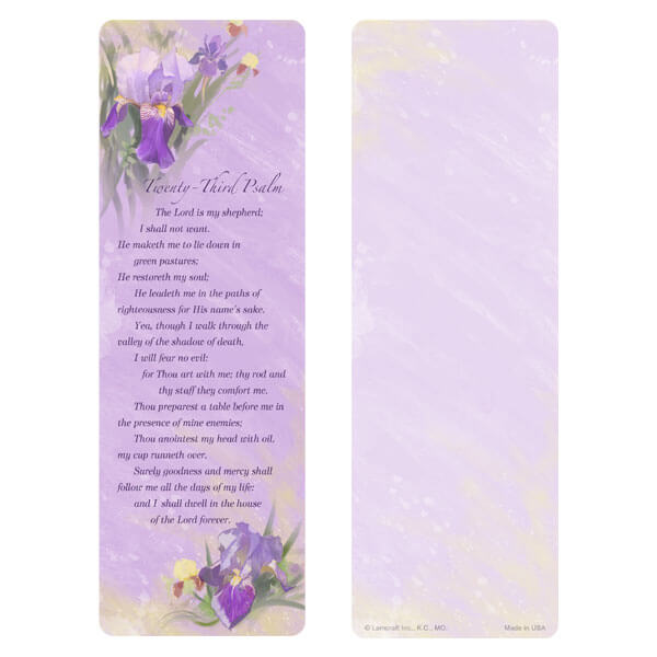 "3"" x 9"" Lavender Iris bookmark, 23rd Psalm"